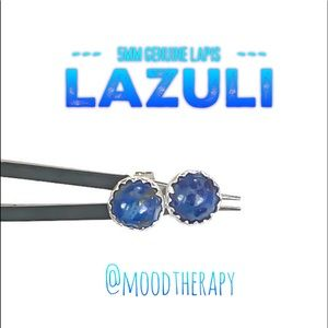 925 Sterling Silver lapis lazuli stud earrings
